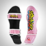 Kids Graffiti Muay Thai Shin Guards Pink